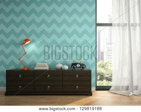 Part of interior with blue wallpaper 3D rendering