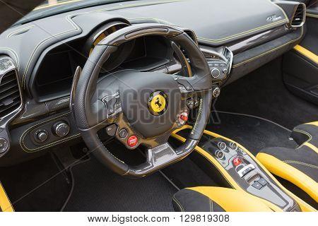 Yellow Ferrari Interior