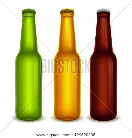Set of realistic green, yellow and brown beer bottles with cap. Blank beer bottles, ready for new design. Isolated vector illustration