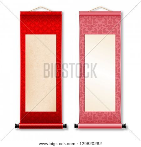 Two deployed ancient hanging scroll Shikishi isolated on white background. Seigaiha and floral patterns on scroll. There is a place for your text, calligraphy or painting. Colored vector illustration.