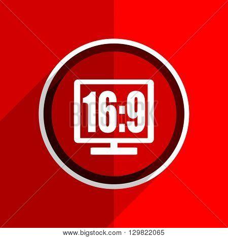 red flat design 16 9 display web modern icon