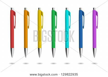 Realistic pens for identity design. Pens with rainbow colors. Vector template illustration. Corporate pen design