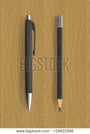 Black pencil and pen on wooden table. Vector illustration. Pensil and pen realistic for idetity design.