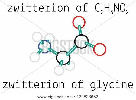 C2H5NO2 zwitterion of glycine 3d amino acid molecule isolated on white