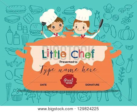 Kids Cooking class certificate design template with little chef cartoon illustration