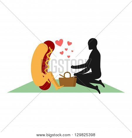Hot Dog On Picnic. Date In Park. Fast Food And People. Rural Jaunt In Love With Food. Meal In Nature