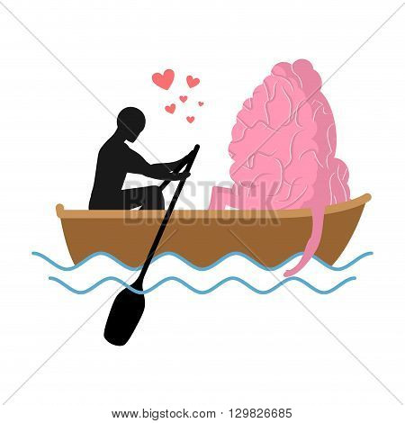 Man And Brain And Ride In Boat. Lovers Of Sailing. Man Rolls Central Organ Of Nervous System In Ondo