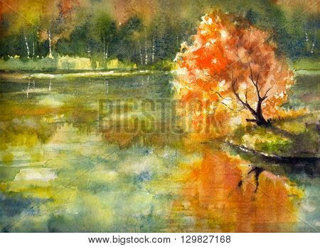 Autumn tree with orange leaves reflecting in lake with.Picture created with watercolors.