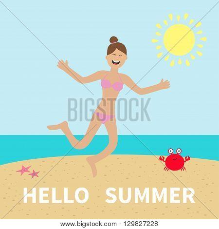Hello summer. Woman wearing swimsuit jumping. Sun beach sea ocean crab. Happy girl jump. Cartoon laughing character in pink swimming suit. Smiling woman in bikini bathing suit Flat design Vector