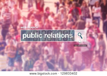 Public relations web search box on internet page.