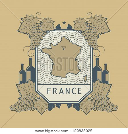 Vintage wine label with map of France, vector illustration