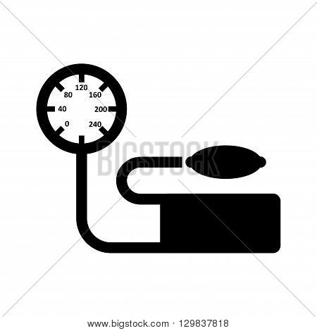 Vector blood pressure icon on white background. Heart blood pressure measuring. Tonometer Icon