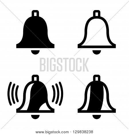 Vector black bell icons set on white background. Ringing bell icon