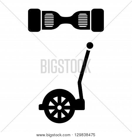 Vector black segway icon. Alternative transport vehicle segway electric gyro scooter