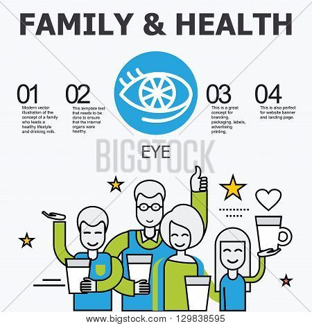 Internal organs - eye. Family and a healthy lifestyle. Medical infographic icons, human organs, body anatomy. Vector icons of internal human organs Flat design. Internal organs icons.