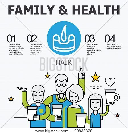 Internal organs - hair. Family and a healthy lifestyle. Medical infographic icons, human organs, body anatomy. Vector icons of internal human organs Flat design. Internal organs icons.