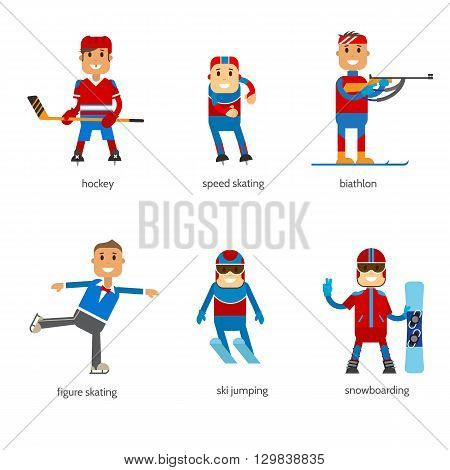 Set icons sportsmen of winter sport isolated. Vector stock illustration sportsmen in uniform. Flat design winter sport.