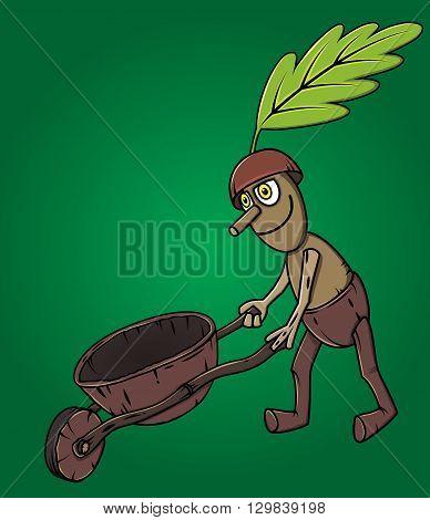 forest man oak leaf pushing wooden handcart