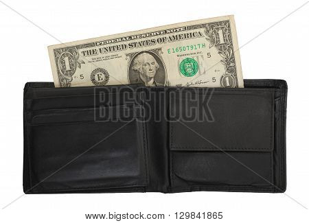 Us One Dollar Bill In A Wallet, Close Up