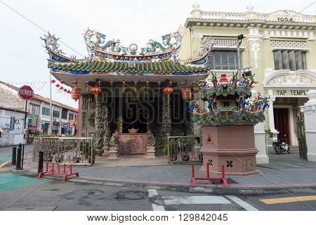 George Town Penang - May 11: Dusk view of the Choo Chay Keong Temple adjoined to Yap Kongsi clan house Armenian Street George Town Penang Malaysia on May 11 2016