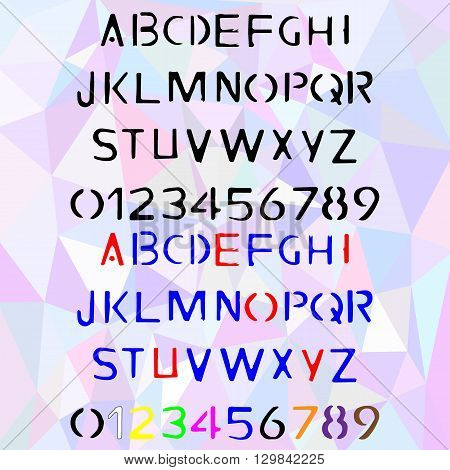 Hand drawn stencil alphabet written stamp font with capital and lowercase letters also numbers and punctuation in two color versions. Vector illustration
