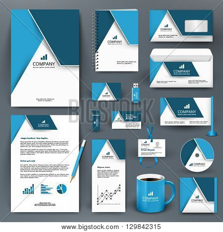 Professional universal branding design kit with triangle. ?orporate identity template, business stationery mock-up for real estate company. Editable vector illustration: folder, mug, etc.