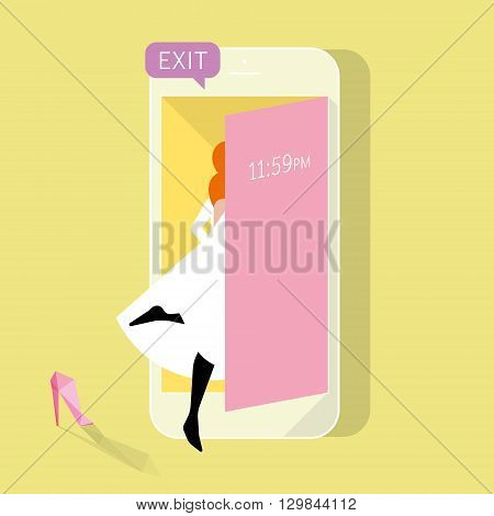 Game for the mobile device. Game is over, time is running out, she goes out and loses her shoe