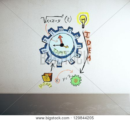 Concrete interior with time management sketch, close up