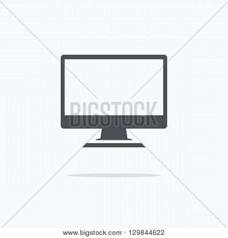 Computer monitor isolated. Computer monitor display. Computer display isolated. Black screen. lcd tv monitor isolated. Icon of monitor. Computer monitor icon. Flat monitor. Vector illustration.