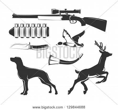 Vector elements for vintage hunting club vector labels, logos, emblems set. Emblem badge for hunting, logo element huntong club illustration