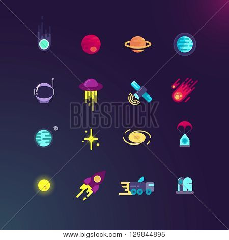 Space and vector flat icons set. Space rocket and planet, spaceship and satellite in universe, space rocket technology and comet illustration