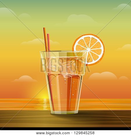 Glass with lemonade at sunset. Summer cold drink with slice of orange and ice cube. Summer sea and sunset background. Vector illustration.