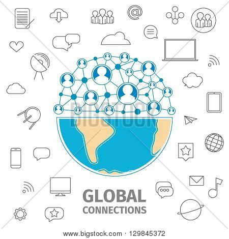 Global connections conception. Global business line art flat conception.  Vector illustration. Half of the Earth. Half of the abstract sphere of the network communication between people.