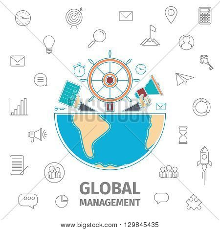 Global Management Conception. Analogies show management in the form of a steering wheel of the ship, horn in hand, diary in hand. Half of the Earth. Line art vector illustration. Flat Global business