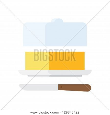 Butter stick with knife. Sliced Margarine block. Baking ingredient butter or margarine stick. Butter vector illustration. Food for breakfast.