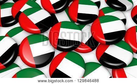 United Arab Emirates flag on badges 3D illustration background for UAE national day events holiday and celebration.