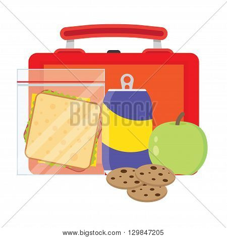 Lunch vector illustration. Lunch break concept. Lunch time design. Lunch box sandwich soda and an apple. Lunch icon in flat style. Lunch school. Lunch kids image.