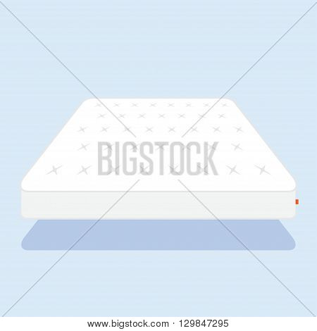 Double white mattress in flat style vector illustration