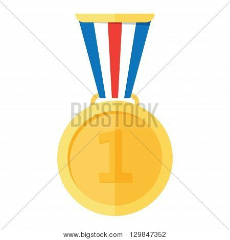 Gold medal. Gold medal icon. Gold medal on the white background. Isolated gold medal. Gold medal for first place. Gold medal flat icon