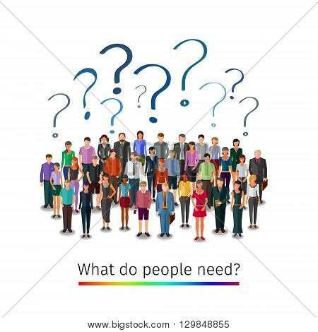 large group of people asking questions, conceptual business illustration