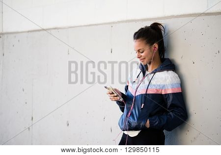 Runner Woman Listening To Music