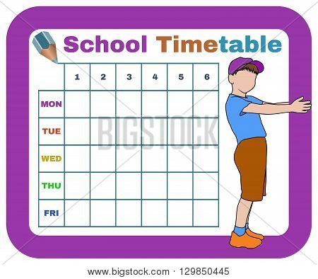 vector school timetable with silhouette of boy and with crayon isolated schedule for students