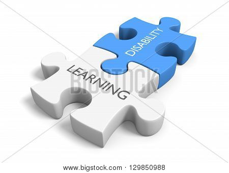 Two connected puzzle pieces with the words learning disability