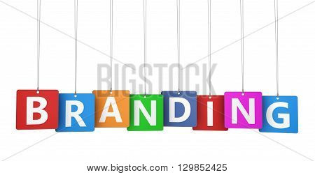 Branding marketing concept with branding word on colorful tags for branding design and business 3D illustration isolated on white background.
