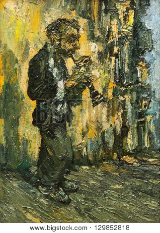 street musician collection original painting on canvas, impressionism relief painting unique style, piece of art on canvas, gypsy playing on clarinet on the street,