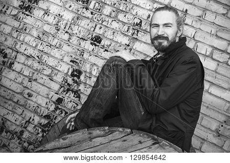 Outdoor Portrait Of Bearded Asian Man, Monochrome