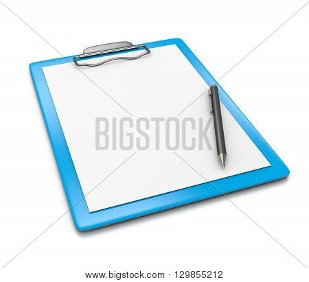 Clipboard With Blank Paper And Ball-point Pen