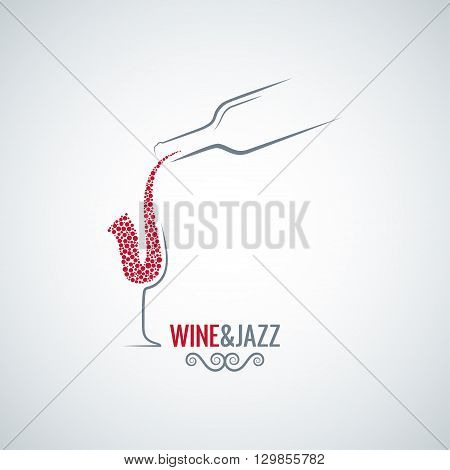 wine and jazz concept design vector background 8 eps