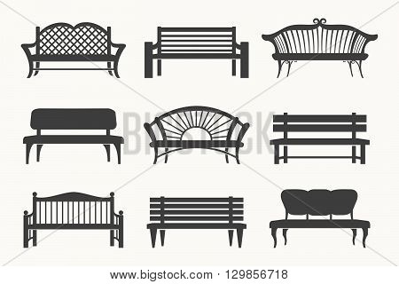 Outdoor benches icons. Bench black icons vector illustration