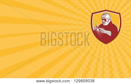 Business card showing illustration of a tungsten inert gas tig welder with welding torch welding set inside shield crest on isolated background done in retro style.